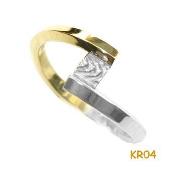 Gouden ring van wit en geelgoud KR04
