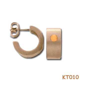 Titanium oorstekers met goud. 5553