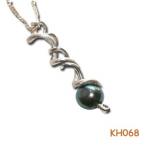 Zilveren hanger met een echte natuurlijke zwarte parel.
