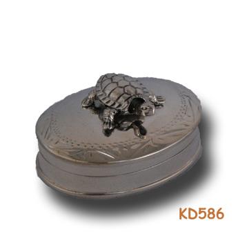 "Zilveren doosje ""schildpad"" KD586"