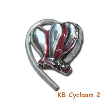 Cyclamenhanger van zilver.
